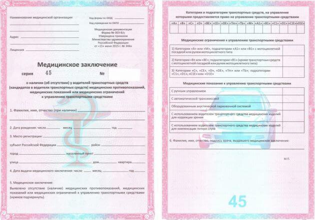 Образец медицинского заключения для замены водительского удостоверения