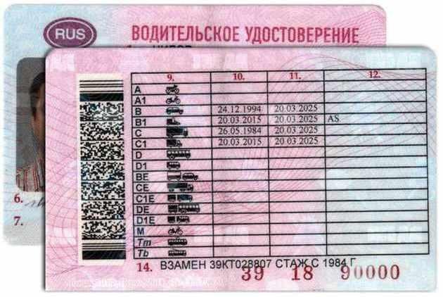 Оборотная сторона водительского удостоверения в последней редакции