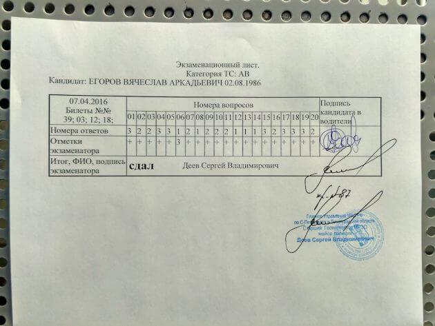 Экзаменационный лист с результатами сдачи