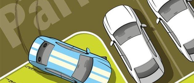 Пример припаркованного авто на газоне
