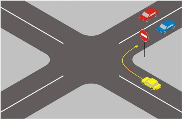 """Проезд под знак """"Въезд запрещен"""" на полосу встречного движения"""